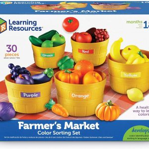 Toy fruits and vegetables that can be sorted by color